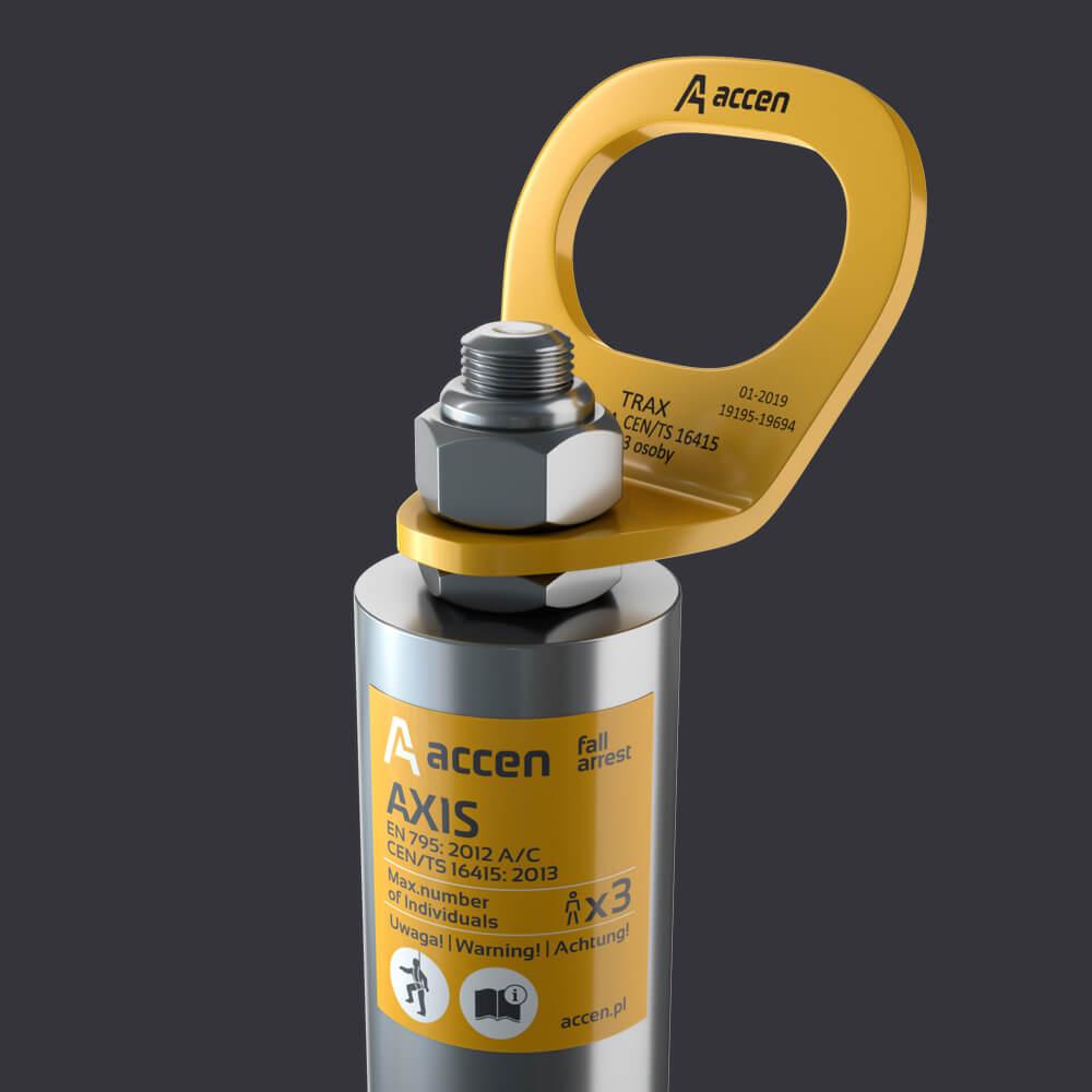 Accen Axis TR- słupek asekuracyjny montaż na blachach trapezowych