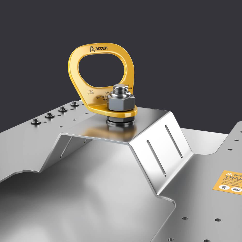 Ochrona indywidualna dla trzech osób- słupek asekuracyjny Trax PW- mocowanie do płyty warstwowej