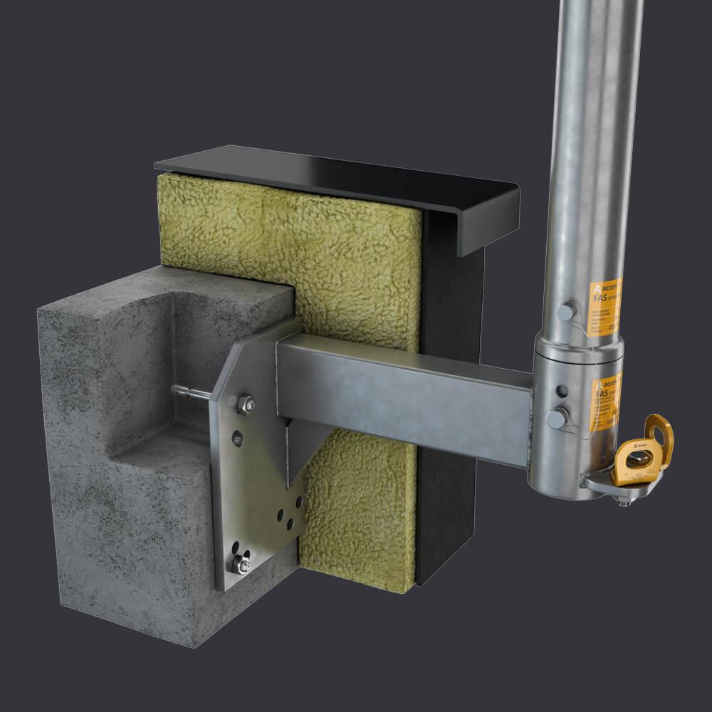 System dostępu do elewacji FAS AT- Gniazdo attykowe- montaż do attyki żelbetonowej