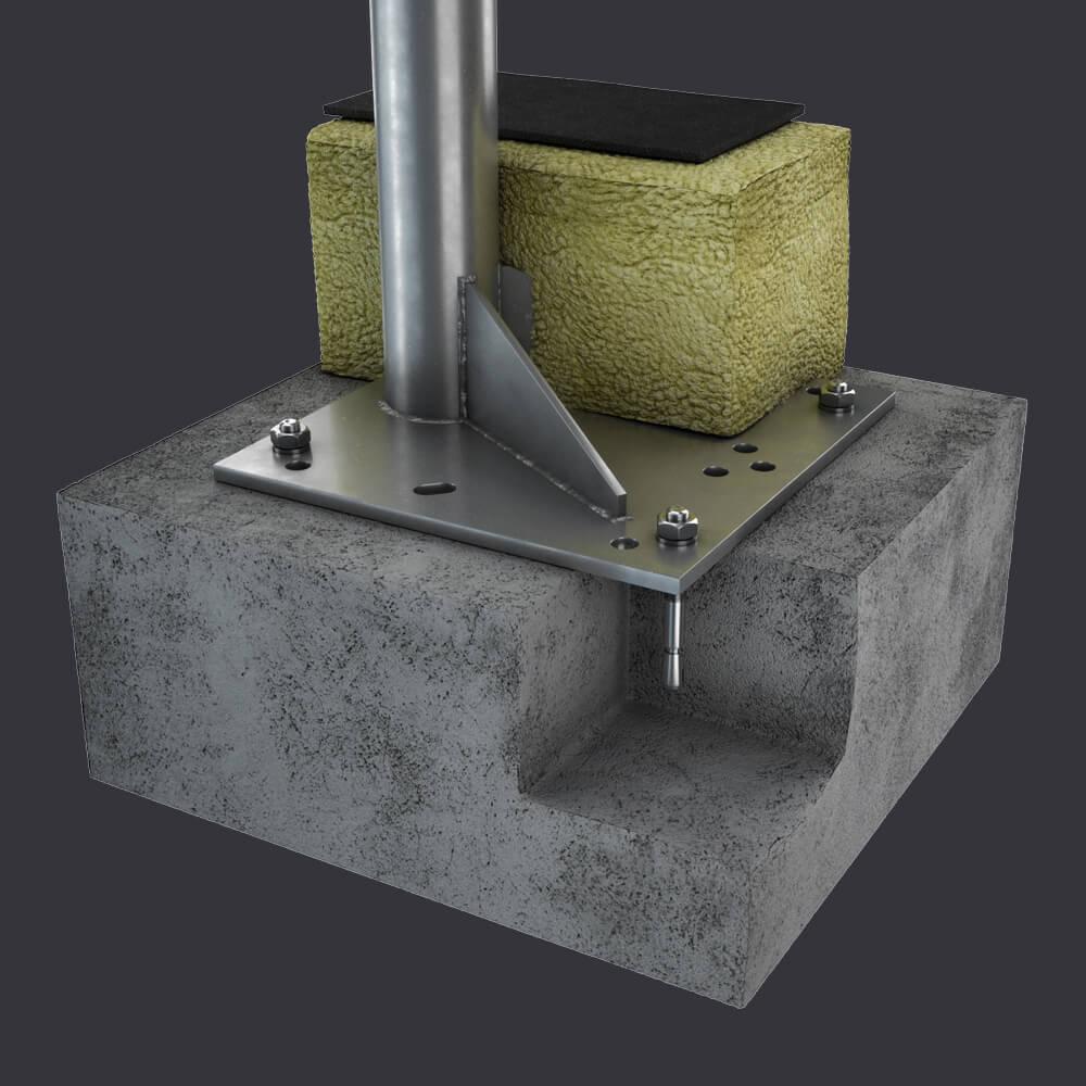 System dostępu do elewacji FAS ST- Gniazdo stropowe- montaż w żelbetonie