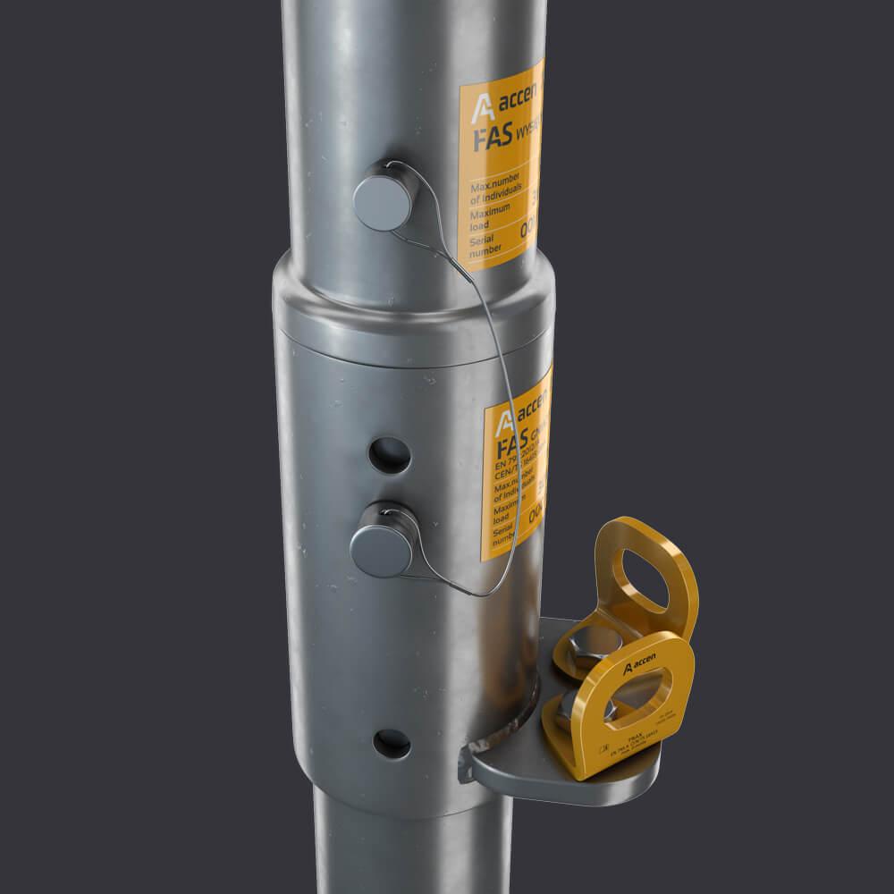 Gniazdo stropowe FAS ST- montaż w żelbetonie- system dostępu do elewacji Accen